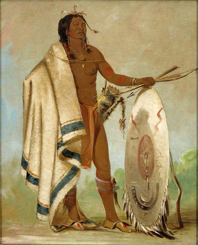 Kotz A To Ah Smoked Shield A Distinguished Warrior By George Catlin