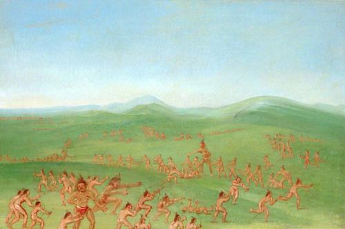 Sham Fight Mandan Boys By George Catlin