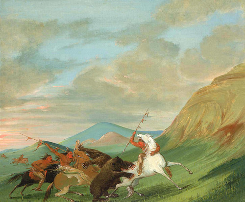 Grizzly Bears Attacking Indians On Horseback By George Catlin