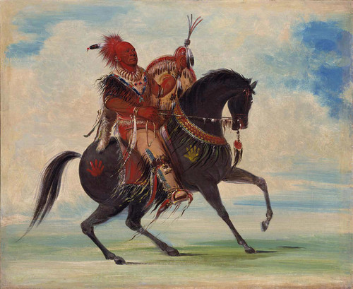 Kee O Kuk The Watchful Fox Chief Of The Tribe On Horseback By George Catlin