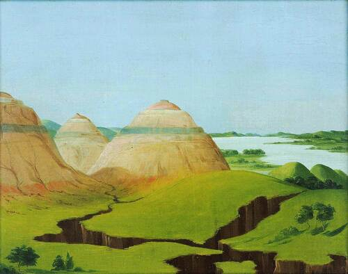 The Three Domes Clay Bluffs 15 Miles Above The Mandan Village By George Catlin