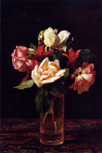 Still Life With Roses And Fuchsia By George Cochran Lambdin