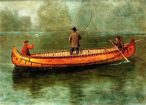 Fishing From A Canoe by Albert Bierstadt