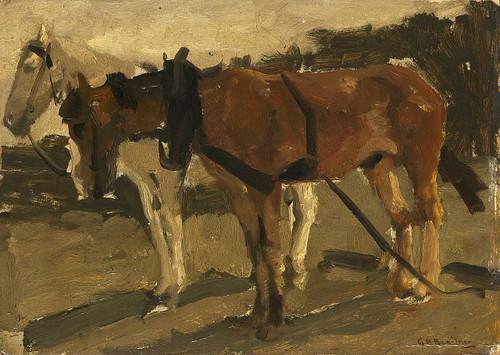 A Brown And A White Horse In Scheveningen By George Hendrik Breitner