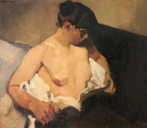 Seated Half Nude By George Hendrik Breitner