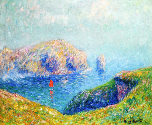 View Of The Bay With Sailboat By Henri Moret
