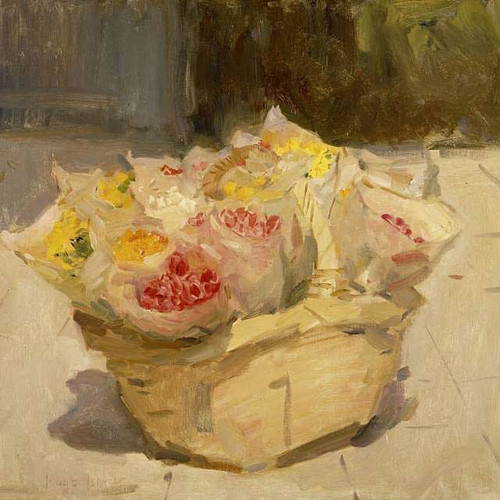 Flowers In A Basket By Isaac Israels