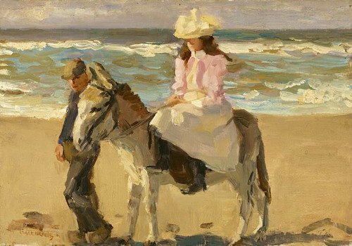 Girl Riding A Donkey By Isaac Israels