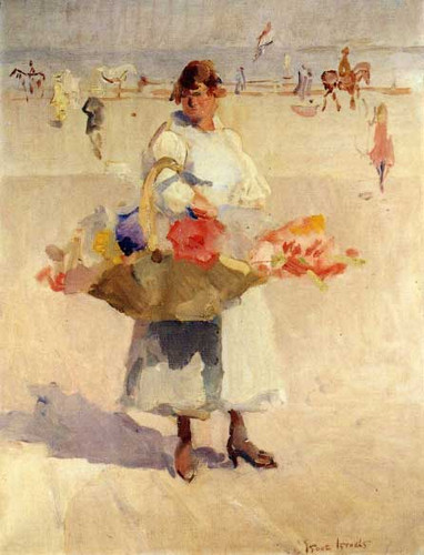 A Flower Girl On The Beach By Isaac Israels