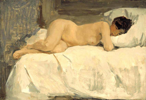 Female Nude Lying On A Sofa By Isaac Israels