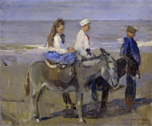 Boy And Girl On Donkeys By Isaac Israels