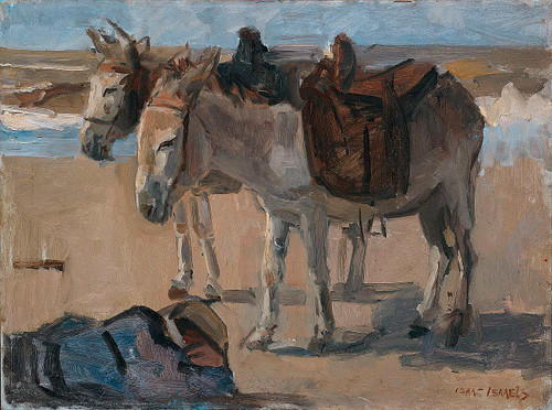 Two Donkeys By Isaac Israels