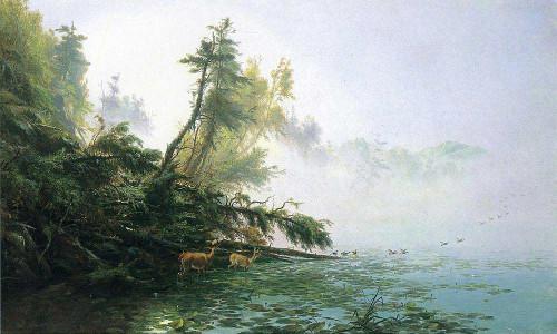 Misty Morning On Racket Lake By James Mcdougal Hart