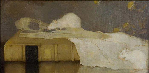 White Mice On A Book By Jan Mankes