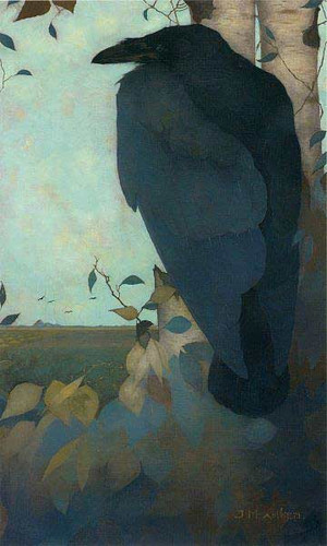 Raven On A Birch Tree By Jan Mankes