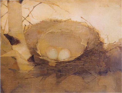 Bird's Nest In Birch Trunk By Jan Mankes