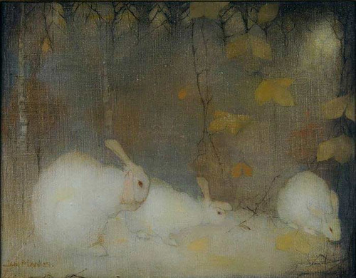 White Rabbits In Autumn By Jan Mankes
