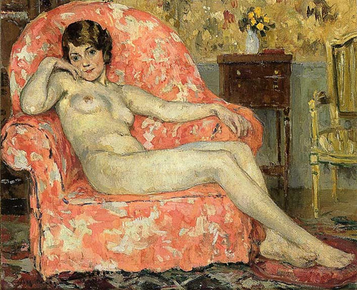 Little Nude In An Armchair By Jules Eugene Pages