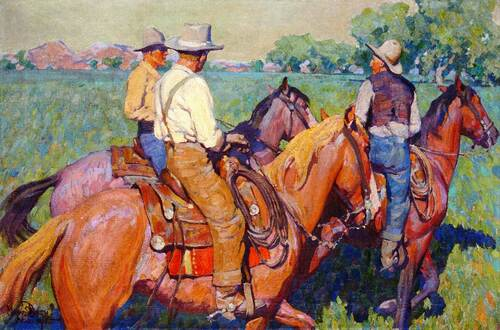 Home Pastures (Also Known As Three Cowboys) By Maynard Dixon