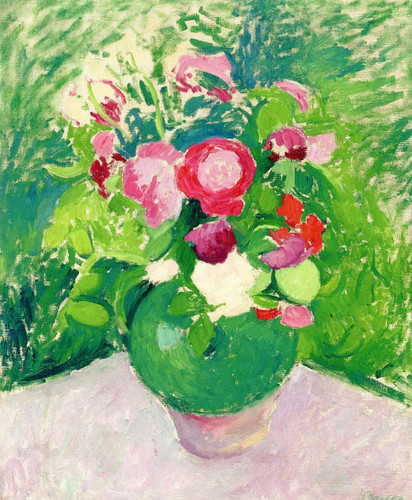Green Jug Of Roses Still Life (Also Known As Bouquet Of Flowers) By Patrick Henry Bruce