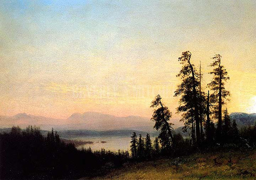 Landscape With Deer View Of Estes Park Colorado by Albert Bierstadt