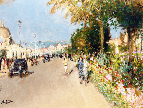 Flower Beds On The Promenade Des Anglais By Pierre Eugene Montezin