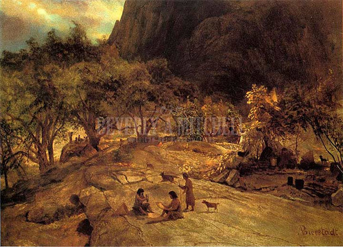 Mariposa Indian Encampment Yosemite Valley California by Albert Bierstadt