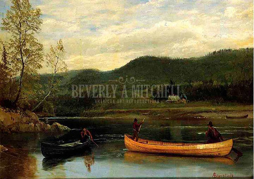 Men In Two Canoes by Albert Bierstadt