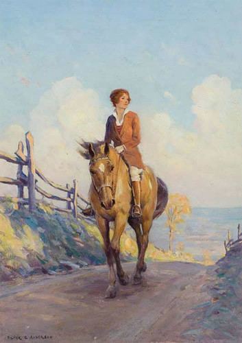 Girl On Horseback By Victor Coleman Anderson