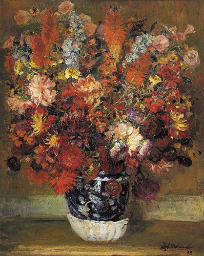 Flowers In A Pot By Jacques Emile Blanche