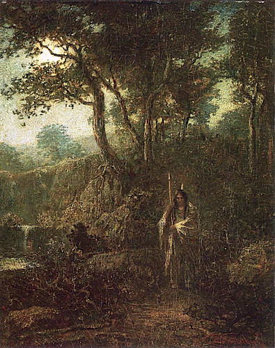 Indian Warrior At Moonlight By Ralph Albert Blakelock