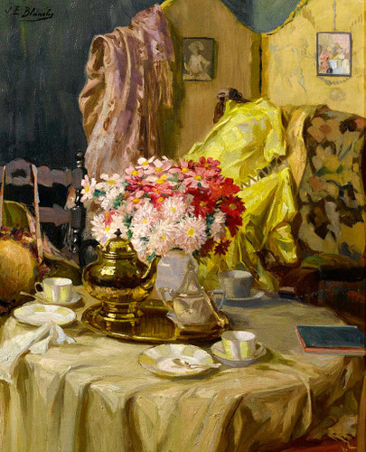 Interior With Flowers And Tea Set By Jacques Emile Blanche