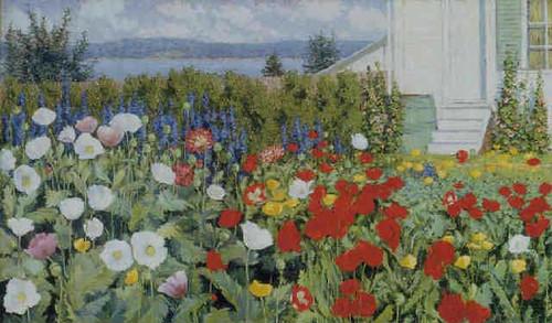 Flower Garden At Annisquam (Also Known As Garden Ironbound Island Maine) By John Leslie Breck