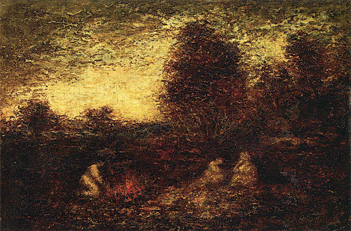 Indian Encampment  Three Figures Campfire And Tents By Ralph Albert Blakelock
