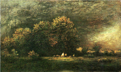 Indian Encampment In A Stormy Landscape By Ralph Albert Blakelock