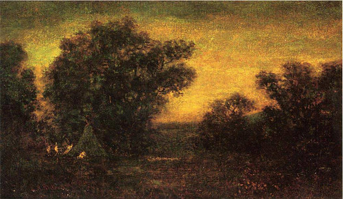 Landscape With Indian Encampment By Ralph Albert Blakelock