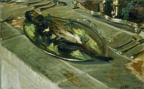 Still Life Fish On A Silver Plate By Jacques Emile Blanche