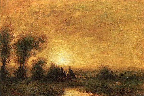 View Of A Teepee At Sunrise By Ralph Albert Blakelock