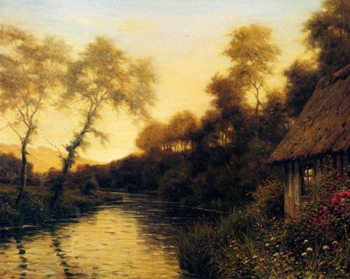 A French River Landscape At Sunset By Louis Aston Knight