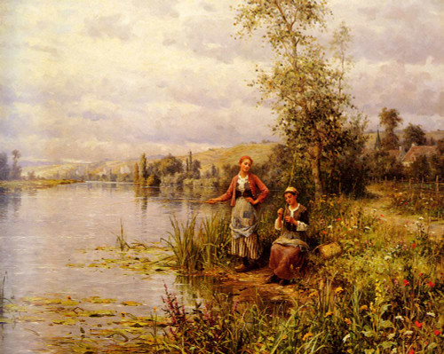 Country Women Fishing On A Summer Afternoon By Louis Aston Knight