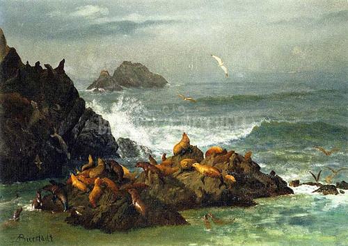 Seal Rocks Pacific Ocean California by Albert Bierstadt