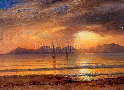 Sunset Over A Mountain Lake by Albert Bierstadt