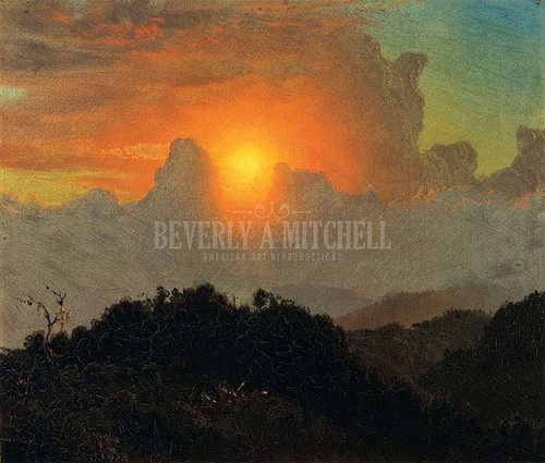 Cloudy Skies Sunset Jamaica by Frederic Edwin Church