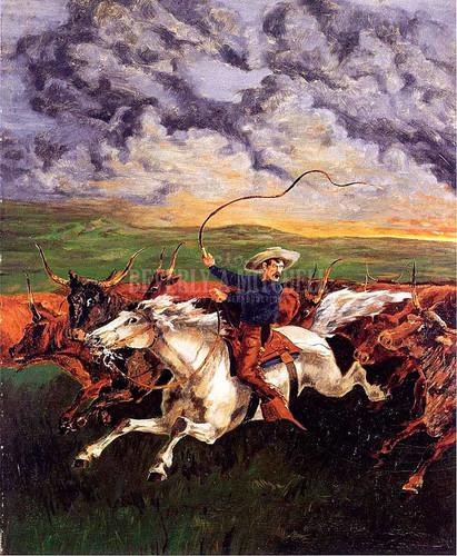 Prairie Fire by Frederic Remington
