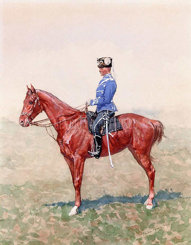 Prussian Calvary Officer On Horseback by Frederic Remington