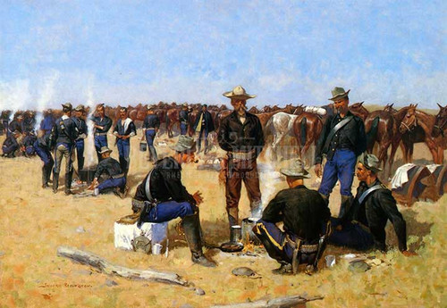 A Cavalrymans Breakfast On The Plains by Frederic Remington