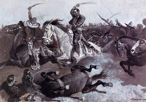 Down Go Horses And Men by Frederic Remington
