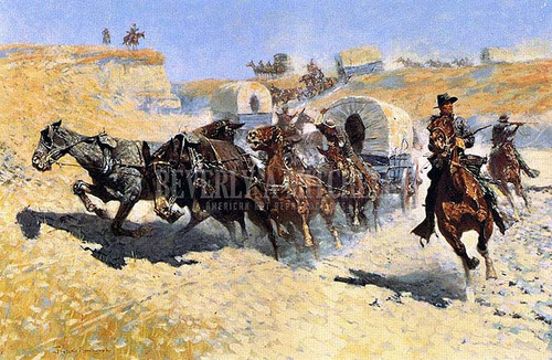 Attack On The Supply Wagons by Frederic Remington