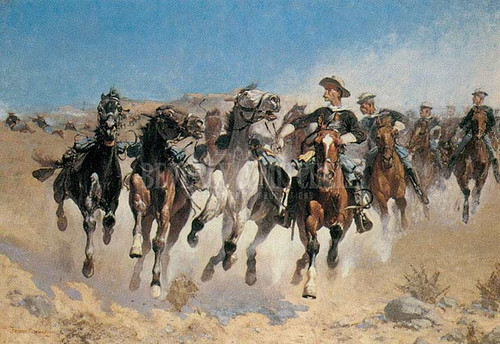 Dismounted The Forth Trooper Moving The Led Horses by Frederic Remington