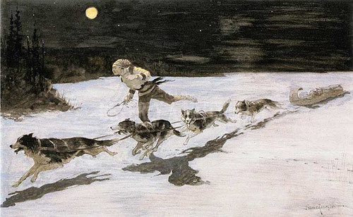 Huskie Dogs On The Frozen Highway by Frederic Remington